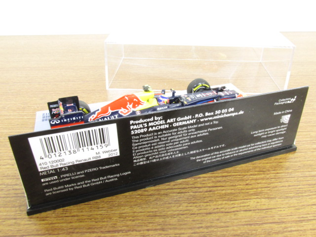 MINICHAMPS(ミニチャンプス) 1/43 RED BULL RACING RENAULT RB8 M.WEBBER 2012