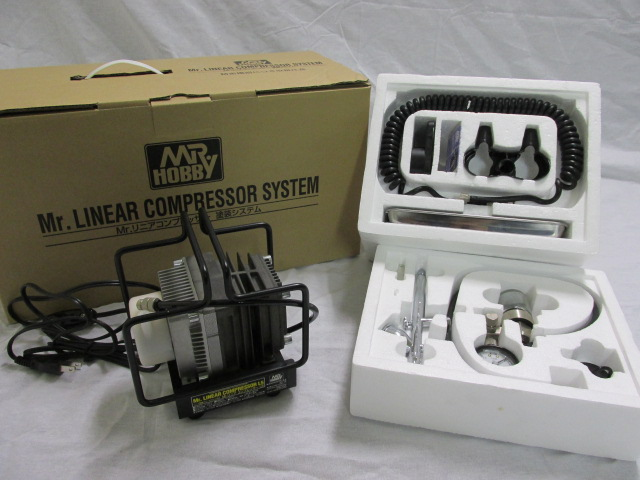 エアブラシ Mr.リニアコンプレッサーL5/レギュレーター/プラチナセット PS305(中古美品)