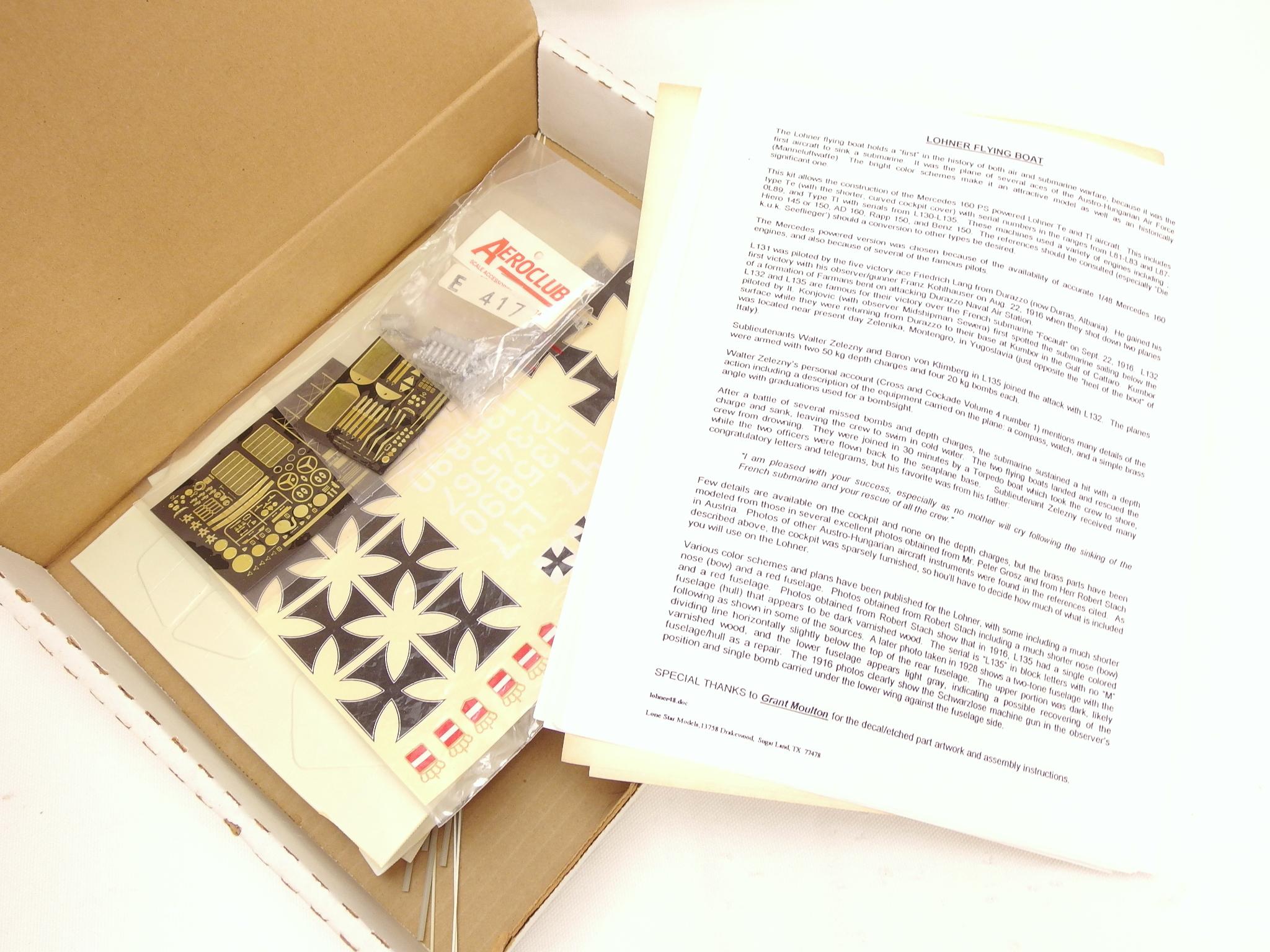 ローンスターモデル 1/48スケール バキュームフォームキット エトリッヒ・タウベ & ローナーL